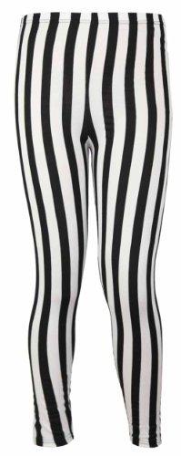 Damen Leggings mit vertikalen Streifen elastischem Bund monochrome lange Leggings - EU 44 / 46, Schwarz und Weiß (Streifen-elastischer Bund)