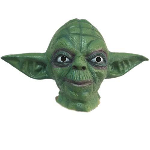 JNKDSGF HorrormaskeHorror Master Yoda Latex Maske Vollgesichts Halloween Movie Star Wars Masken Grün Maskerade Kostüm Party Cosplay Requisiten Erwachsene - Latex Star Wars Kostüm