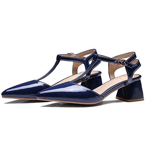 COOLCEPT Femme Mode Courroie En T Sandales Bout Ferme Talon Bloc Chaussures Bleu