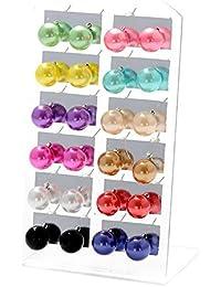Bluelans® Lot de 12paires de boucles d'oreilles à tige imitation perle pour oreilles percées Coloris variés