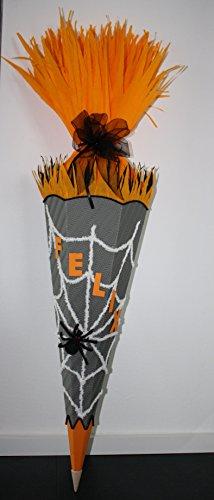 Walter Creativ Bastel-Set Schultüte Zuckertüte Spinne Spider Handarbeit grau-orange-schwarz