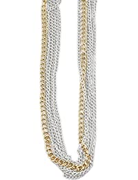 Joyería de moda cadena, oro/blanco, 90 cm