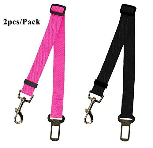 Leetop 2 Packs Hunde-Sicherheits-Gurt Verstellbar fürs Auto,Auto Hunde Sicherheitsgurt Hundegurt Sicherheitsgeschirr Hunde Adapter Auto Sicherheitsgurt(Schwarz+Pink)