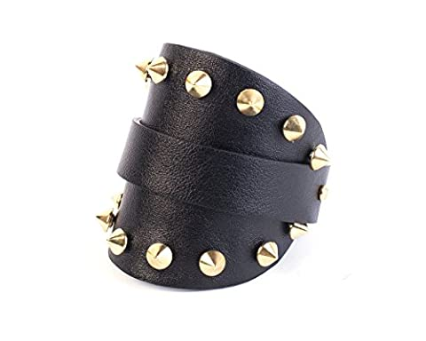 Rustic cuff bracelet, Studded bracelet, Black leather cuff bracelet, Punk cuff bracelet, Leather bracelet with spikes, Wide leather