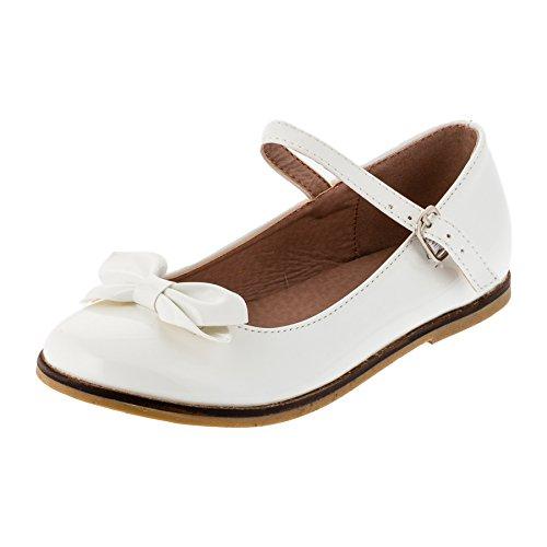 Festliche Kinder Mädchen Ballerinas Schuhe für Partys und Freizeit in vielen Farben M297ws Weiss Gr.33