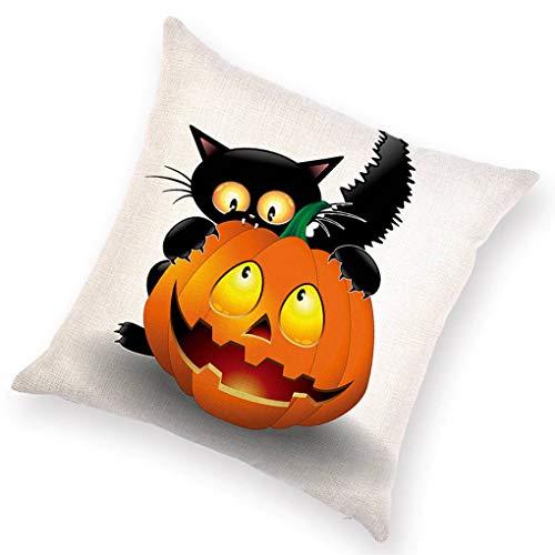 Gankmachine Cartoon Halloween Theme Muster Leinengewebe 45x45cm 3D Printed Kissen für Heim Auto-Büro
