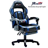 JR Knight LC-04BKBL Ergonomic Gaming Chair With Footrest, Proffessional Gamer Design Home Office