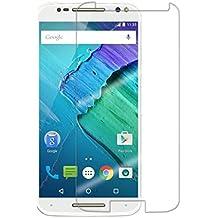 Protector de pantalla Cristal templado para Motorola Moto X Style  Calidad HD, Grosor 0,3mm, Bordes redondeados 2,5D, alta resistencia a golpes 9H. No deja burbujas en la colocación (Incluye instrucciones y soporte en Español)