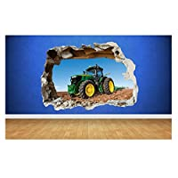 Tractor Farm Boys Bedroom Animals Country Smashed Wall Decal 3D Art Stickers