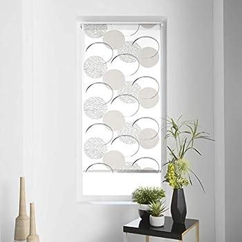 Debel Store occultant Enrouleur 100//% Polyester avec Barre inf/érieure en Aluminium Arbre Noir//Gris 100/x 175/cm 60 x 175 cm Tissu Noir//Blanc