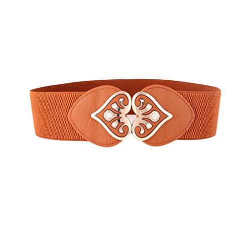 Irypulse Mujer Elástico de Corsé de Cintura de Hebilla Antigua de Corazon Nueva moda de aleacion de vintage Accesorios cinturon de cuero estiramiento ancho cinturones Adecuado para jeans Falda