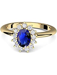 Amoonic Engagement Ring with Blue Zirconia Stone Ring Made with SWAROVSKI ZIRC Blue (as Kate Middleton + with Luxury Case. Gold (High Quality Gold Plated Sterling Silver Sapphire Ring ff587VGGG Safa ZIFA