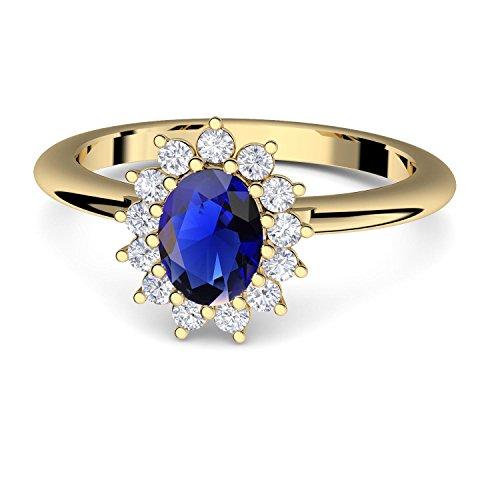 Verlobungsring blauer Stein Zirkonia von AMOONIC mit Zirkonia blau wie Saphir Gold (Silber 925 hochwertig vergoldet) wie Kate Middleton +LUXUSETUI Gold-Ring FF587VGGGSAFAZIFA60