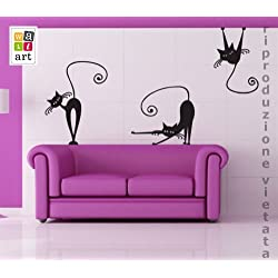 00223 Pegatina Adhesivo Vinilo Decorativo Pared Wall Art - Gatos 2 - 50x70 cm