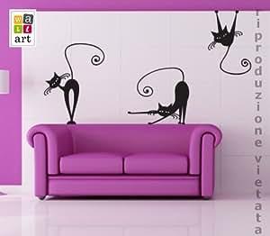 adesivo murale gatti 2 misure 50x70 cm decorazione