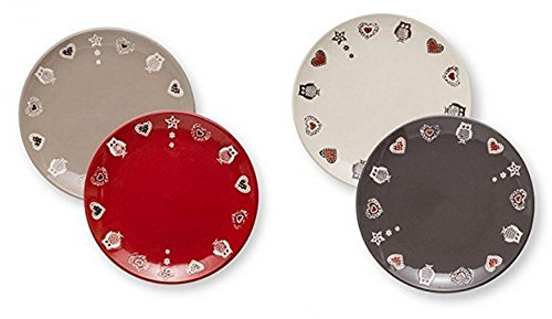 Brandani Set de 4 assiettes à dessert enchantement cm 20 grigio-avorio- Taupe – Rouge
