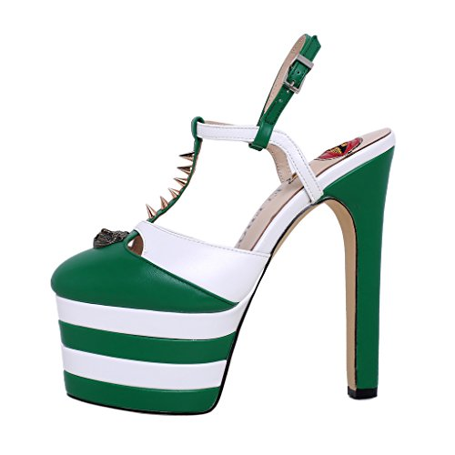 ELEHOT Donna Elequestionnaire tacco a spillo 16CM Synthetic Sandali, verde B, 35.5