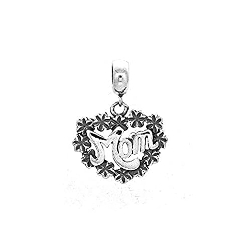 Mom Flowers Dangle 925 Sterling Silver Bead Fits Pandora Chamilia Biagi Troll Charms Europen Style Bracelets by The Kiss