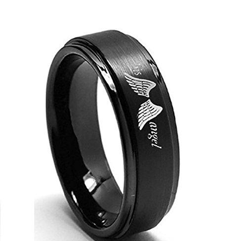 Beydodo 1 Stuck Titan Ring Damen mit Gravur His Angel Schwarz Ringe Hochzeitsring Partnerringe Gr.67 - Aventurin Für Männer Ringe