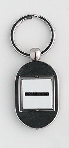 Key ring with Black rectangle shape.