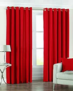 Super India Plain Faux Silk 2 Pieces Eyelet Window Curtain, Polyester Plain Ringtop - 4 x 5ft in Red