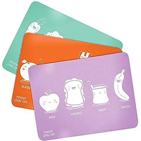 3 Pack Silicone Roll Up, Reusable Childrens Placemats Designed By Monkey Loves Tom