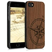 kwmobile Wood Case Compatible with Apple iPhone 7/8 / SE (2020) - Non-Slip Natural Solid Hard Wooden Protective Cover - Navigational Compass Dark Brown