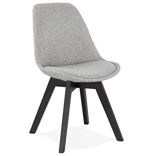 Alterego Chaise Design 'Willy' en Tissu Gris avec Pieds en Bois Noir