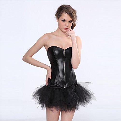 Rosfajiama Plus Size Ecopelle delle donne sexy anteriore della chiusura lampo del corsetto Top Lace Up disossato Bustier con gonna showgirl clubwear Medium Nero