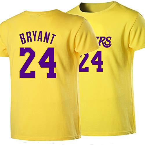 Kurze äRmel T-Shirt Los Angeles Lakers Basketball Top Player James No.23 Kobe Bryant 24 Club Jungen Sommer Sport,24yellow,M