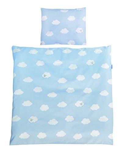 roba Wiegenbettwäsche 2-tlg, Wiegenset Kollektion 'Kleine Wolke blau', Baby Bettwäsche 80x80(Decke & Kissen), 100% Baumwolle