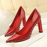 Yukun zapatos de tacón alto Apuntada De Espesor con Tacones Altos Desnudos Huecos Arco De Ante De La Boca Baja Zapatos De Tacón Bajo Otoño, 37, Rojo Vino