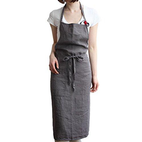 JYPHM Leinen Schürzen für Frauen mit Taschen Küchenschürze Grillen Holzbearbeitung Bartending Kellner Leder Arbeiter Chef Schürze Grau (Koch-schürze Für Frauen)