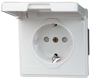 Kopp Schutzkontakt-Steckdose, Spritzwasserschutz IP 44, Unterputz, 10/16 A, 250 V, Serie Feuchtraum, weiß