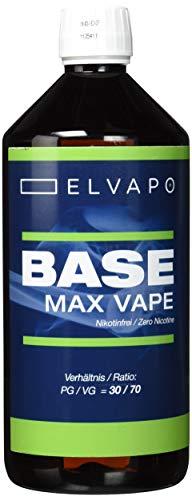 Elvapo BASE - Max Vape | 1000ml / 1L | 30/70 (PG/VG) | Basisliquid für das Mischen von E-Liquids mit Aromen (für E-Zigaretten und E-Shishas) | 0mg (ohne Nikotin) | Liquid-Basen Made in Germany!