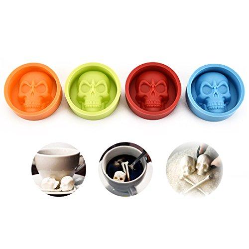 rmen-Set-hitzebeständig Halloween Backen Formen für Schokolade, Candy Form Ice Tablett Skull Blue/Red/Green/Orange ()