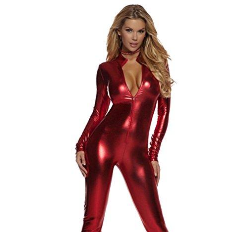CHENGYANG Damen Catsuit Zentai Kostüm Ganzkörperanzug Bodysuit für Karneval Cosplay Party Anzug Rot XL ()