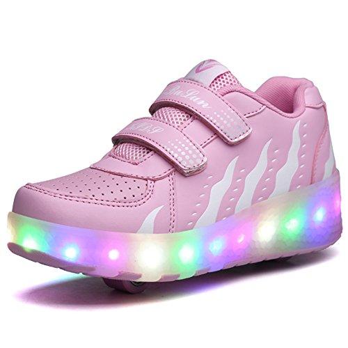 Schuhe Mit Rollen AIMOGE Unisex Skateboard Kinder Mädchen Jungen Led Leuchtet Sohle Leuchtend Sport Turnschuhe ohne USB Mit einem rad Test