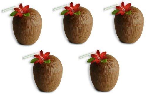 -Strand Party-Kokusnuss Cocktailbecher & Trinkhalme (Kokosnuss-tasse Mit Blume Und Strohhalm)