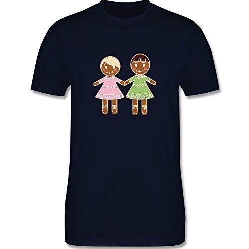 Weihnachten & Silvester - Lebkuchenfrau und -frau - Herren Premium T-Shirt Navy Blau