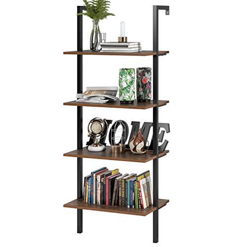 Homfa Estantería Escalera Librería de Pared con 4(5) estantes ...