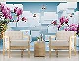 BHXINGMU Kundenspezifische Wandbilder 3D-Magnolie Und Pfau Große Fototapete Wohnzimmerdekoration 50Cm(H)×90Cm(W)