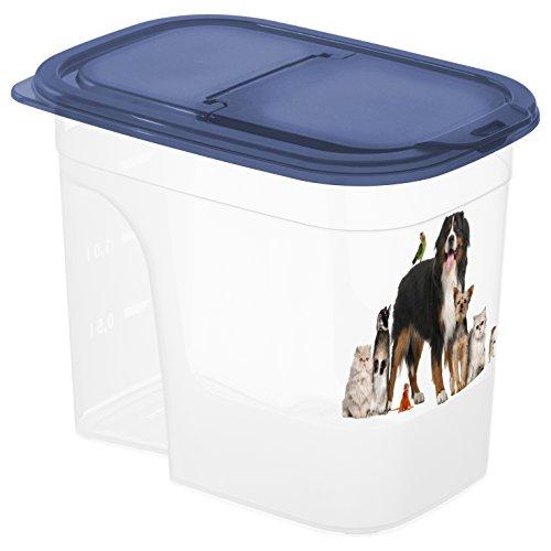 """Rotho Basic Tierfutterbehälter 2 .2 l, Kunststoff (PP), transparen / blau mit Motiv """"Animals"""", 2.2 Liter (20 x 14 x 16 cm)"""