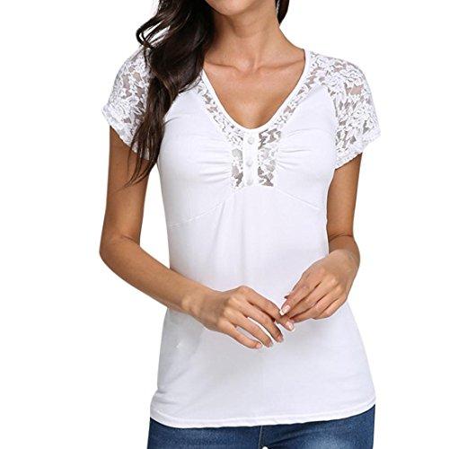ESAILQ Damen Sommer Lose Oberteile Kurzarm Tops V-Ausschnitt Bluse Basic T-Shirt (M,Weiß)