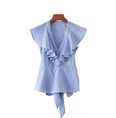 Jianyin Frauen Süße Rüschen Gestreifte Blaue Shirts Sexy V-Ausschnitt Schärpen Kurzarm Blusen Damen Tops Blusas IM Europäischen Stil (Patchwork Gewebt Shirt Plaid)