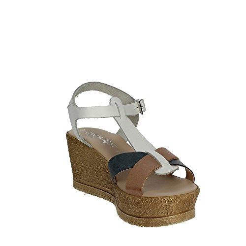 Cinzia Soft IG9664 001 Sandale Femme Blanc/Marron cuir