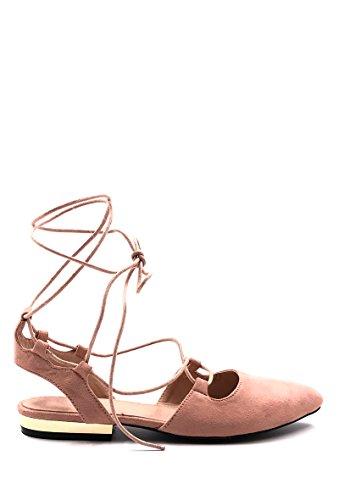 CHIC NANA . Chaussure Femme Ballerine plate à lacet, bout pointue, talon ouvert. Rose