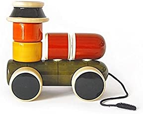 KIDS SHOPEE Train Engine Wooden Toy Multi Colour Reassemble