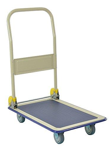 T-EQUIP Plattformwagen YE1-300 mit Antirutsch-Beschichtung, klappbar, Tragfähigkeit: 300 kg, Grau/Blau, Schiebewagen, Handwagen, Trolley