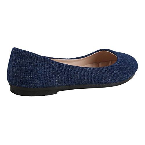 Couro Azul Clássico Escuro Óptica Denim Sapatos Bailarinas Moda Da Lazer Senhoras wwzH4AqE